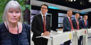 Anna-Lena Lodenius. Jimmie Åkesson (SD), Jonas Sjöstedt (V), Gustav Fridolin (MP) och Stefan Löfven (S) under SVT:s slutdebatt inför valet 2014 TT