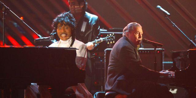 Little Richard och Jerry Lee Lewis tillsammans på scen på Grammygalan i Los Angeles 2008. Mike Blake / TT NYHETSBYRÅN
