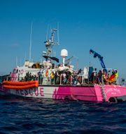 Fartyget Louise Michel som är finansierad av Banksy.  Santi Palacios / TT NYHETSBYRÅN