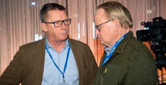 Säpo-chefen Klas Friberg och försvarsminister Peter Hultqvist på Folk och Försvar. Henrik Montgomery/TT / TT NYHETSBYRÅN