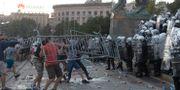 Protester under tisdagen.  Marko Drobnjakovic / TT NYHETSBYRÅN