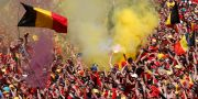 Belgiska fans firar sommarens VM-brons. Yves Herman / TT NYHETSBYRÅN/ NTB Scanpix