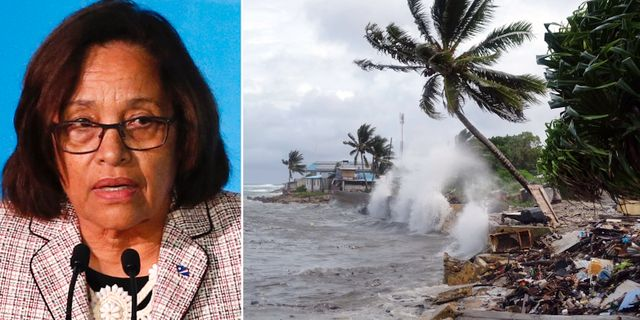 Hilda Heine/storm i Marshallöarnas huvudstad Majuro. TT