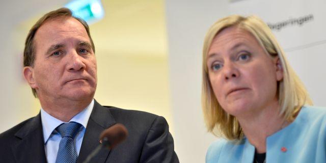 Magdalena Andersson och Stefan Löfven. Vilhelm Stokstad/TT / TT NYHETSBYRÅN