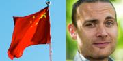 Kinesiska flaggan och Jesper Rönndahl. Arkivbilder. TT.