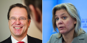 Moderaten Anders Borg och finansminister Magdalena Andersson (S). Arkivbilder. TT