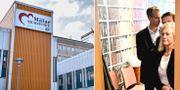 T.v: Mälarsjukhuset i Eskilstuna. Sjukhuset är det största av de fyra sjukhusen i Sörmland och drivs av Landstinget Sörmland. T.h: Cecilia Versteegh, styrelseledamot i Apotekstjänst, i bakgrunden Apotekstjänsts avgående vd Tomas Hilmo. TT