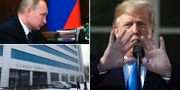 """Vladimir Putin/Lokalen där """"Internet Research Agency"""" tros hålla till/Donald Trump. TT"""