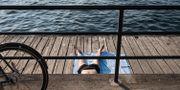 Bild på badare vid Hornsbergsstrand i Stockholm Stina Stjernkvist/TT / TT NYHETSBYRÅN