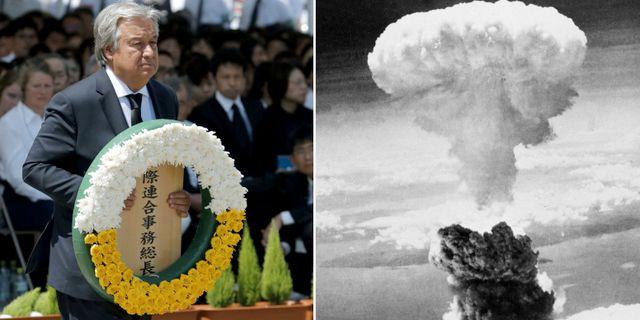 FN-chefen António Guterres i Nagasaki/Molnet efter bomben mot staden för 73 år sedan.  TT