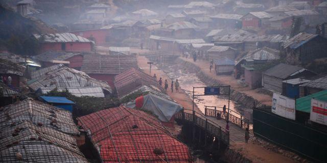 Flyktingläger där många rohingier bor.  DIBYANGSHU SARKAR / AFP