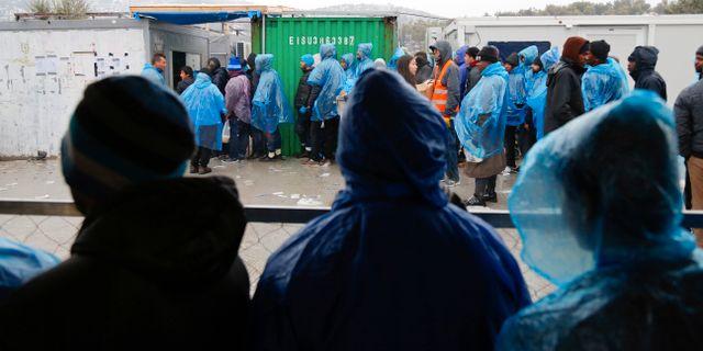 Flyktingar i lägret Moria på den grekiska ön Lesbos, 10 januari. Petros Tsakmakis / TT / NTB Scanpix