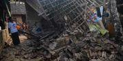 Ett raserat hus i staden Pandeglang. RONALD SIAGIAN / AFP