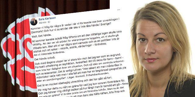 Sara Karlsson kan inte längre stå bakom S migrationspolitik. TT/Montage: Omni