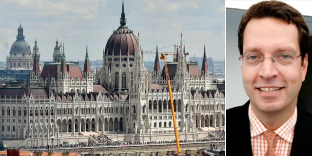 Ungerns parlamentsbyggnad i Budapest och Sveriges ambassadör Niclas Trouvé. TT