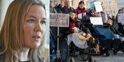 Emma Hermansson och en manifestation.  TT.