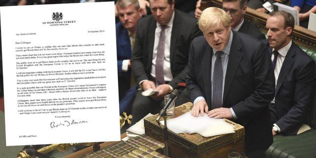 Boris Johnson i parlamentet idag. TT