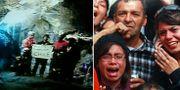 Bilder från gruvan och räddningsarbetet. TT