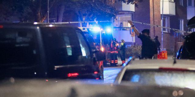 Ett stort pådrag ryckte ut efter skjutningen. Claus Meyer/TT / TT NYHETSBYRÅN