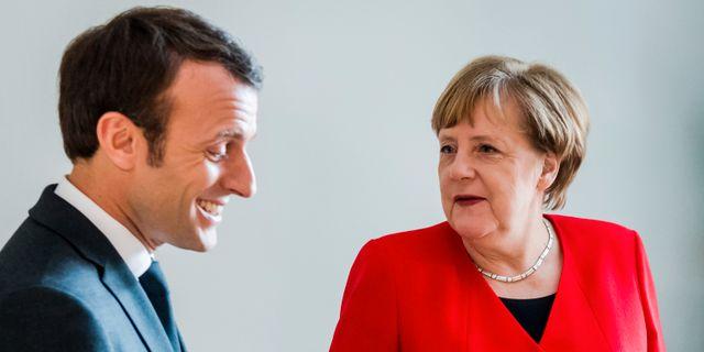 Emmanuel Macron och Angela Merkel.  Geert Vanden Wijngaert / TT NYHETSBYRÅN/ NTB Scanpix