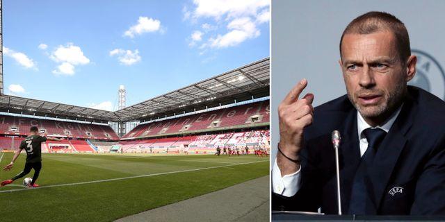 Bundesliga startade i helgen, här Köln mot Mainz på söndagen/Aleksander Ceferin. Bildbyrån/TT