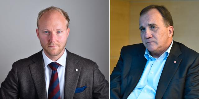 Ludvig Aspling (SD) och Stefan Löfven (S). Illustrationsbild TT