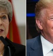 Donald Trump och Theresa May. Arkivbilder. TT