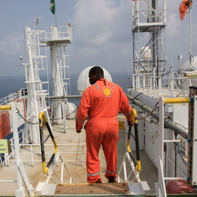 An unidentified Shell worker aboard the Bonga offshore oil vessel off the coast of Nigeria, Monday, Dec. 26, 2011. Sunday Alamba / TT / NTB Scanpix