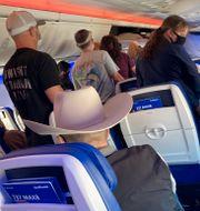 Passagerare på ett Boeing 737 Max-plan. Charlie Riedel / TT NYHETSBYRÅN