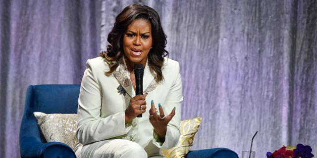 Michelle Obama i Globen i Stockholm. Henrik Montgomery/TT / TT NYHETSBYRÅN