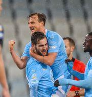 MFF-spelare firar segern mot IFK Göteborg i sluet av oktober.  Andreas Hillergren/TT / TT NYHETSBYRÅN