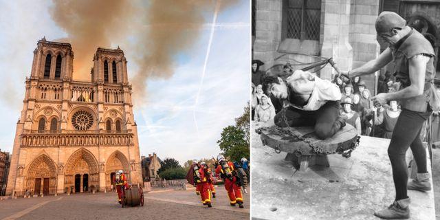 """Bild från måndagens brand / Bild från en filminspelning av """"Ringaren i Notre Dame"""".  TT"""