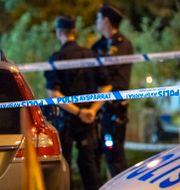 Polis vid avspärrning Johan Nilsson/TT / TT NYHETSBYRÅN