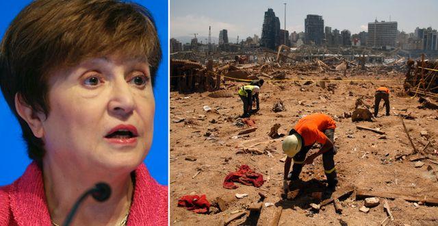 Kristalina Georgieva. Beirut efter explosionerna tidigare i veckan. TT