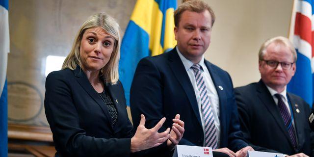 Danmarks, Finlands och Sveriges försvarsministrar. Pontus Lundahl/TT / TT NYHETSBYRÅN