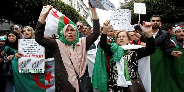 Demonstranterna ropade slagord på Algers gator. RAMZI BOUDINA / TT NYHETSBYRÅN