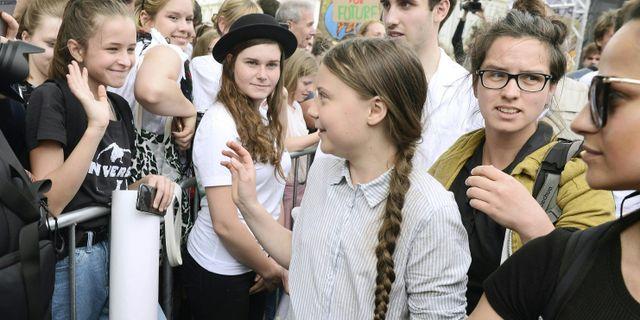 Greta Thunberg vid en demonstration för klimatet i Wien, 31 mars. HERBERT PFARRHOFER / APA