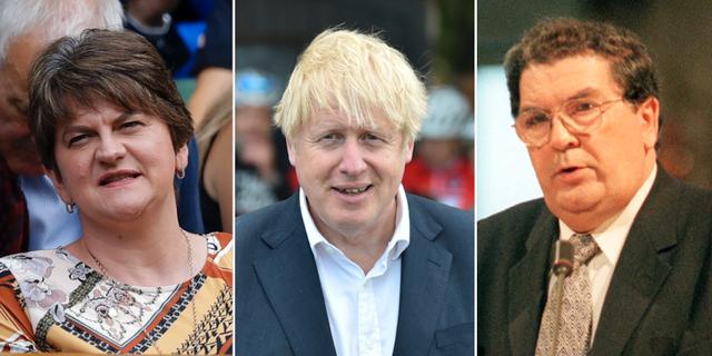 Arlene Foster, Boris Johnson och John Hume. TT