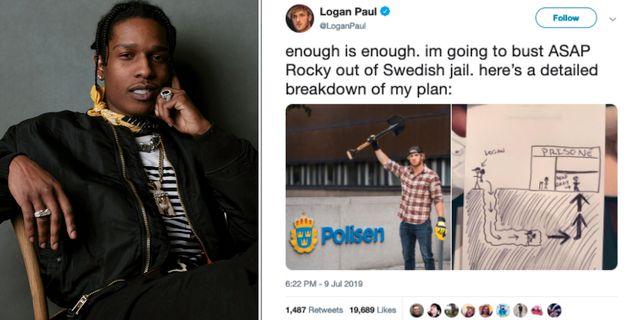 Asap Rocky och Logan Pauls tweet.  AP/Skärmdump från Twitter