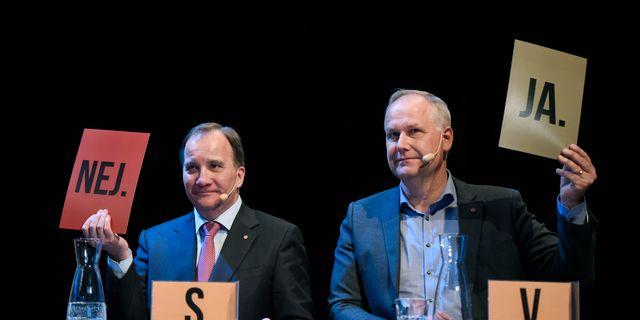 Stefan Löfven (S) och Jonas Sjösted (V). Erik Mårtensson/TT / TT NYHETSBYRÅN