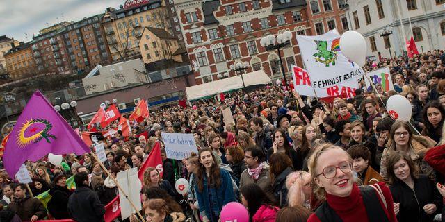 Arkivbild. Demonstration under internationella kvinnodagen. JONAS EKSTRÖMER / TT / TT NYHETSBYRÅN