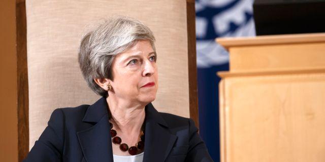 Storbritanniens avgående premiärminister Theresa May.  Salvatore Di Nolfi / TT NYHETSBYRÅN
