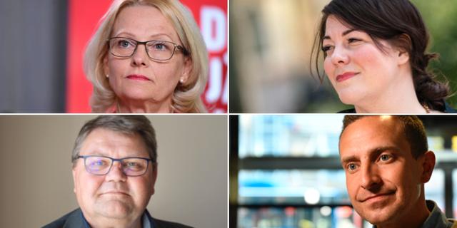 Fyra av politikerna som är med i kvällens debatt. TT