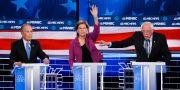 Michael Bloomberg, Elizabeth Warren och Bernie Sanders under debatten. John Locher / TT NYHETSBYRÅN