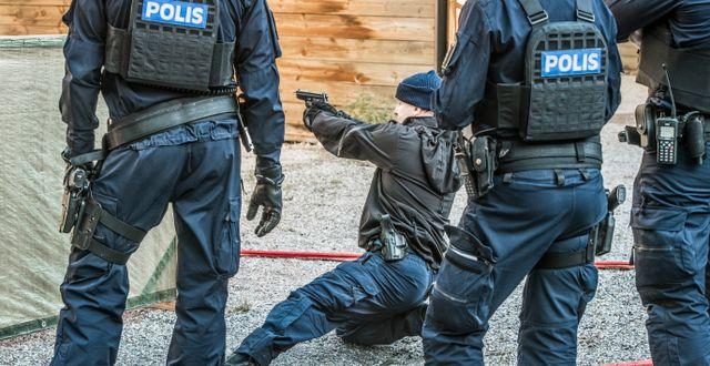 Tester vid polisutbildningen.   Lars Pehrson/SvD/TT / TT NYHETSBYRÅN