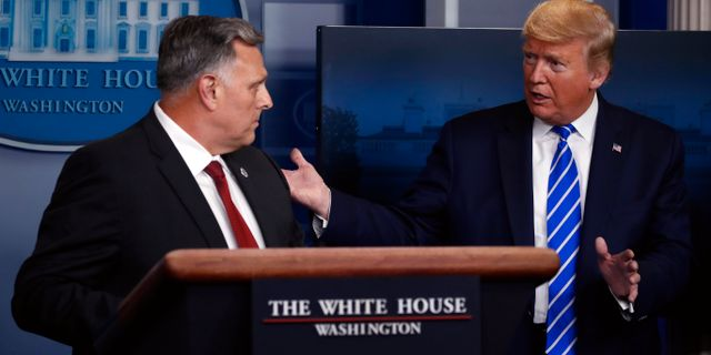 Arkivbild: Bill Bryan vid departementet för inrikes säkerhet i samtal med Donald Trump i Vita huset. Alex Brandon / TT NYHETSBYRÅN