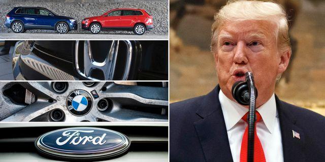 Ford, Honda, BMW och Volkswagen och Trump. Arkivbilder. TT