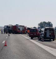 Bussolyckan. Luka Safundzic / TT NYHETSBYRÅN