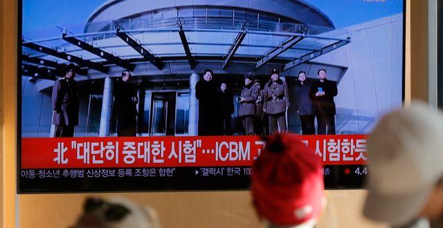 Tv-sändning i Sydkorea om Nordkoreas test.  Lee Jin-man / TT NYHETSBYRÅN