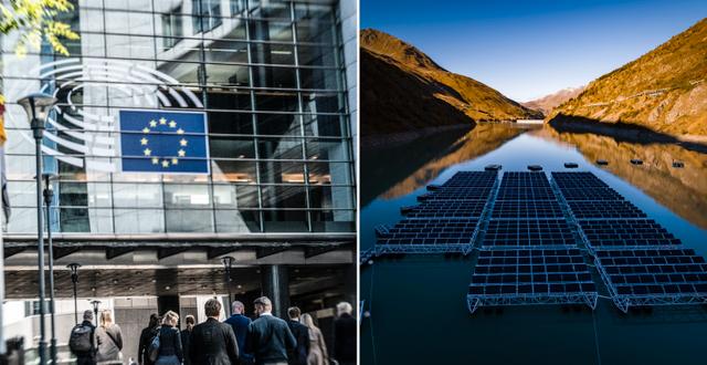Fasad till EU-parlamentet och solpaneler.  TT/AP